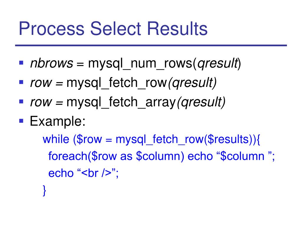 Process Select Results