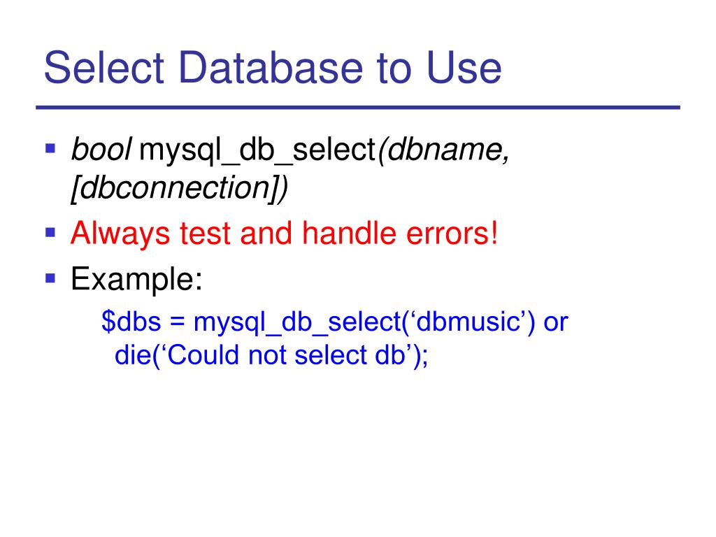 Select Database to Use