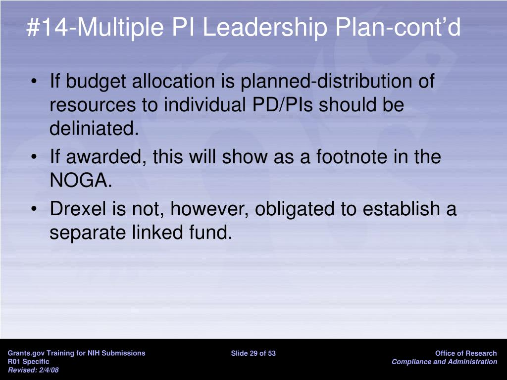 #14-Multiple PI Leadership Plan-cont'd
