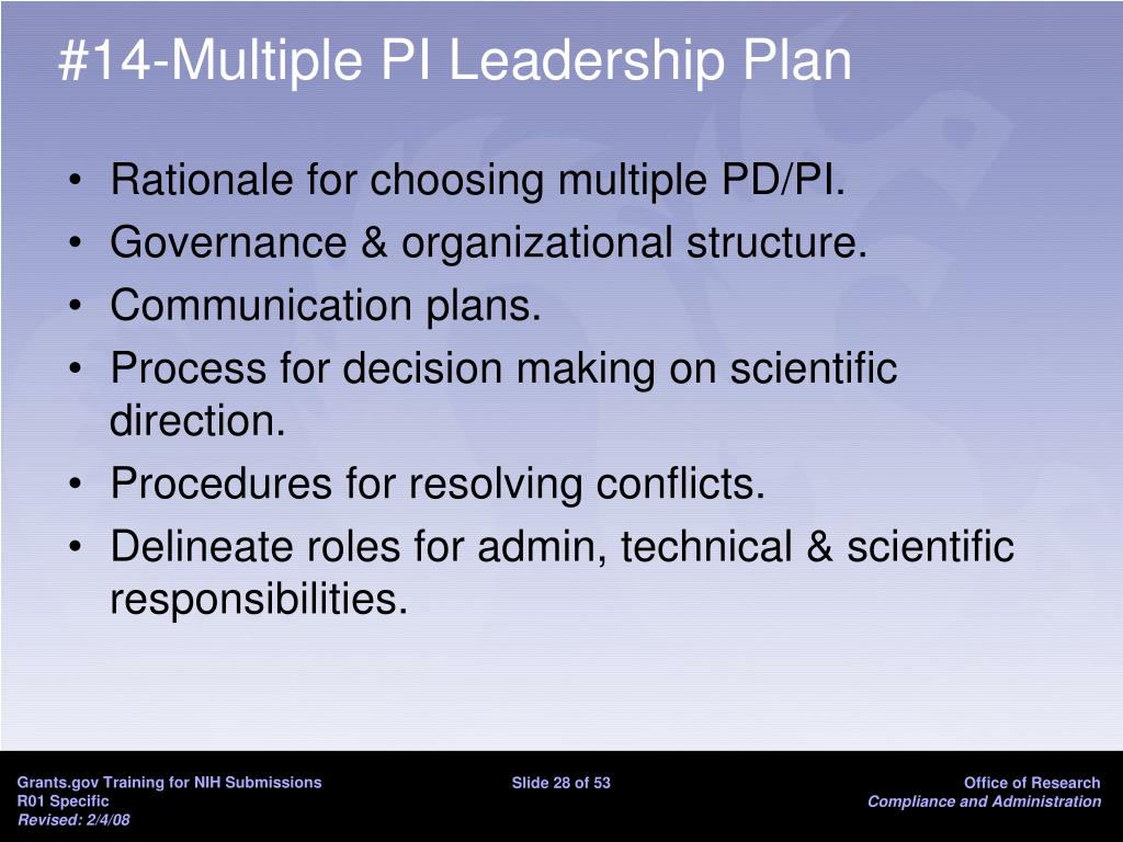 #14-Multiple PI Leadership Plan