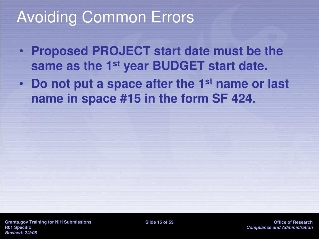 Avoiding Common Errors