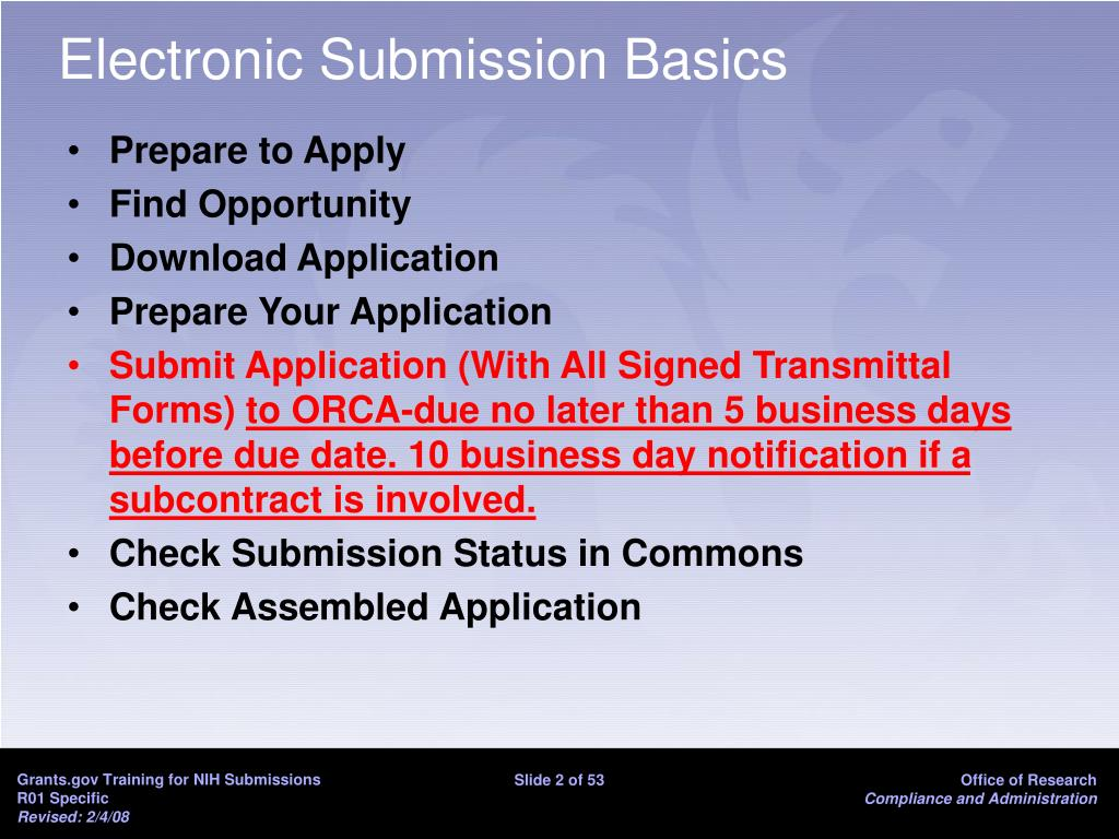 Electronic Submission Basics