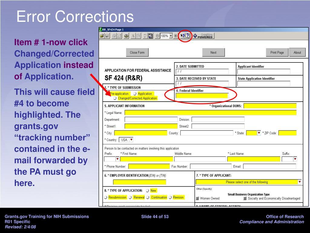 Error Corrections
