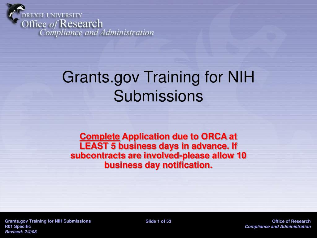 Grants.gov Training for NIH Submissions