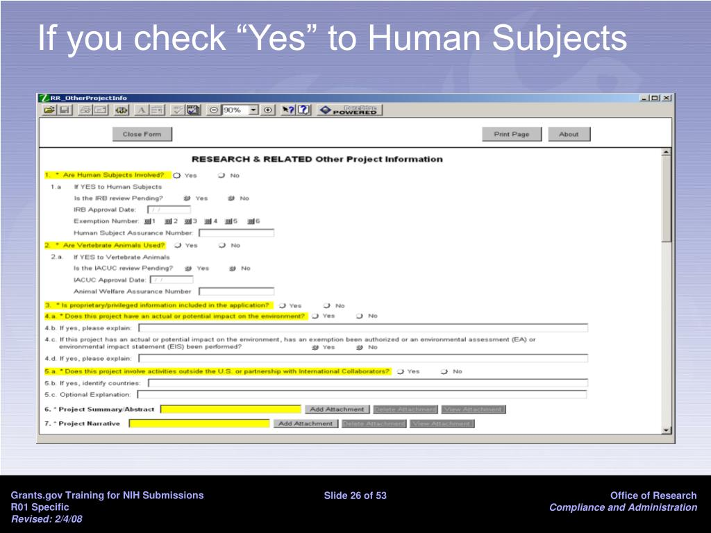 "If you check ""Yes"" to Human Subjects"