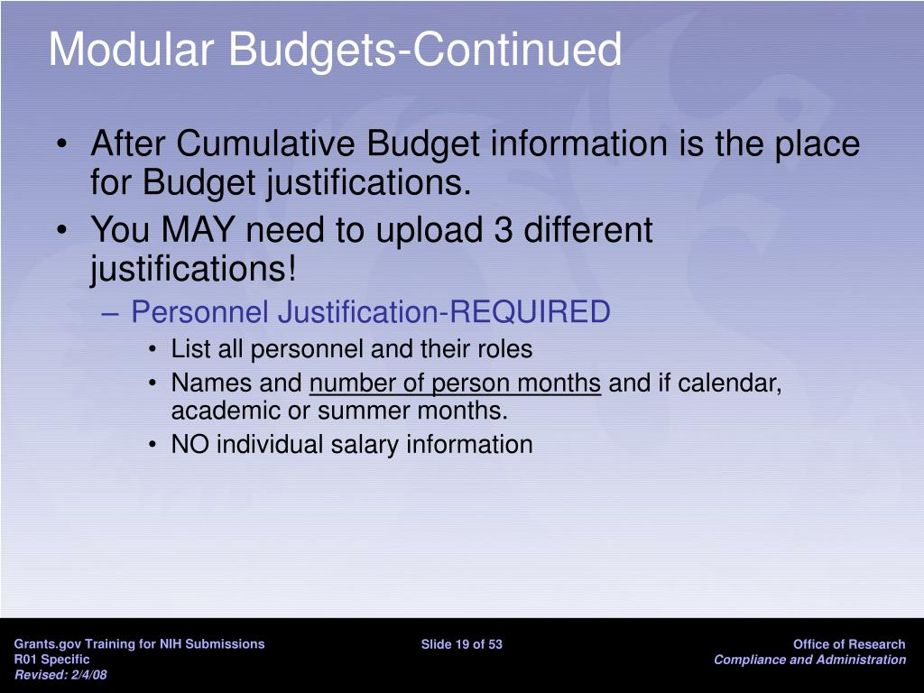 Modular Budgets-Continued