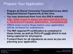 prepare your application