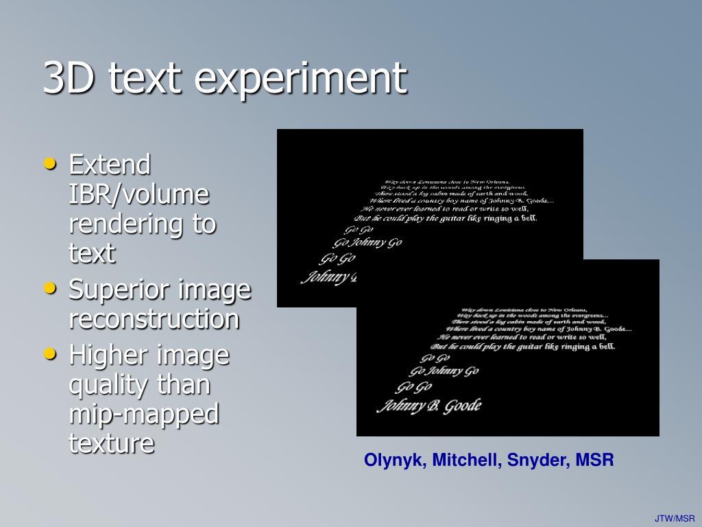 3D text experiment
