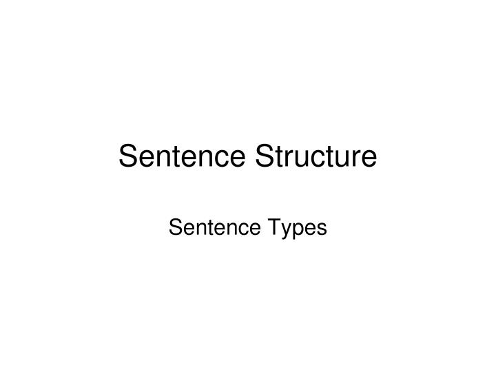 Sentence structure1