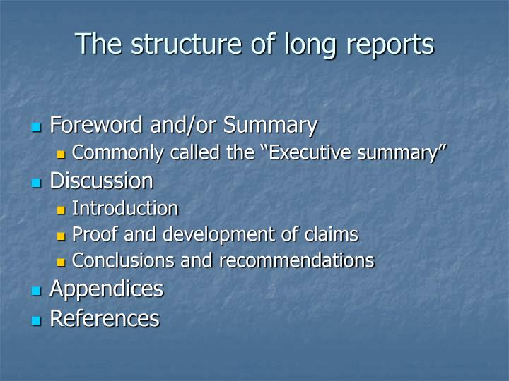 The structure of long reports l.jpg
