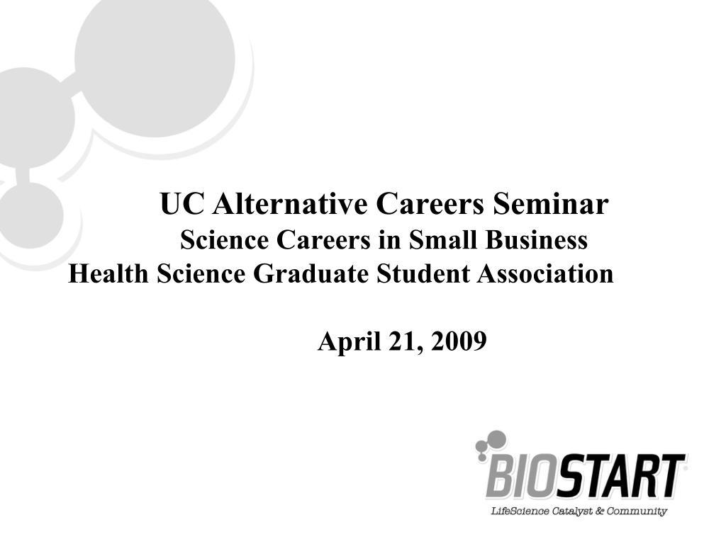 UC Alternative Careers Seminar