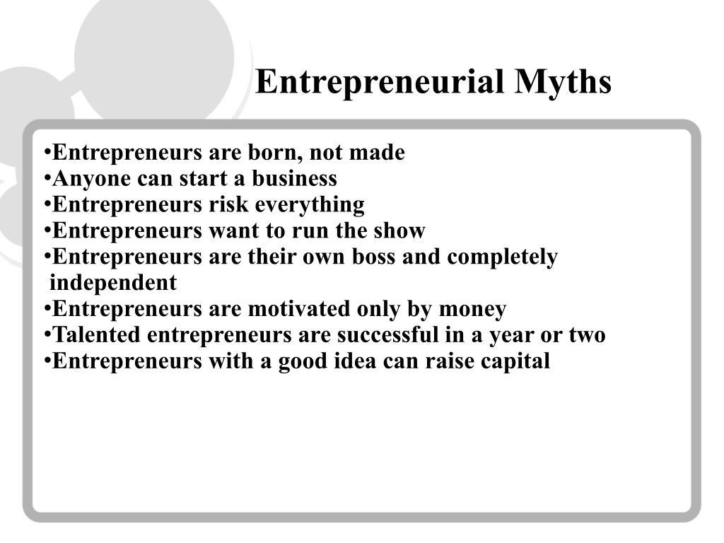 Entrepreneurial Myths