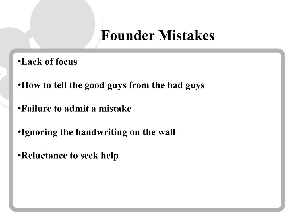 Founder Mistakes