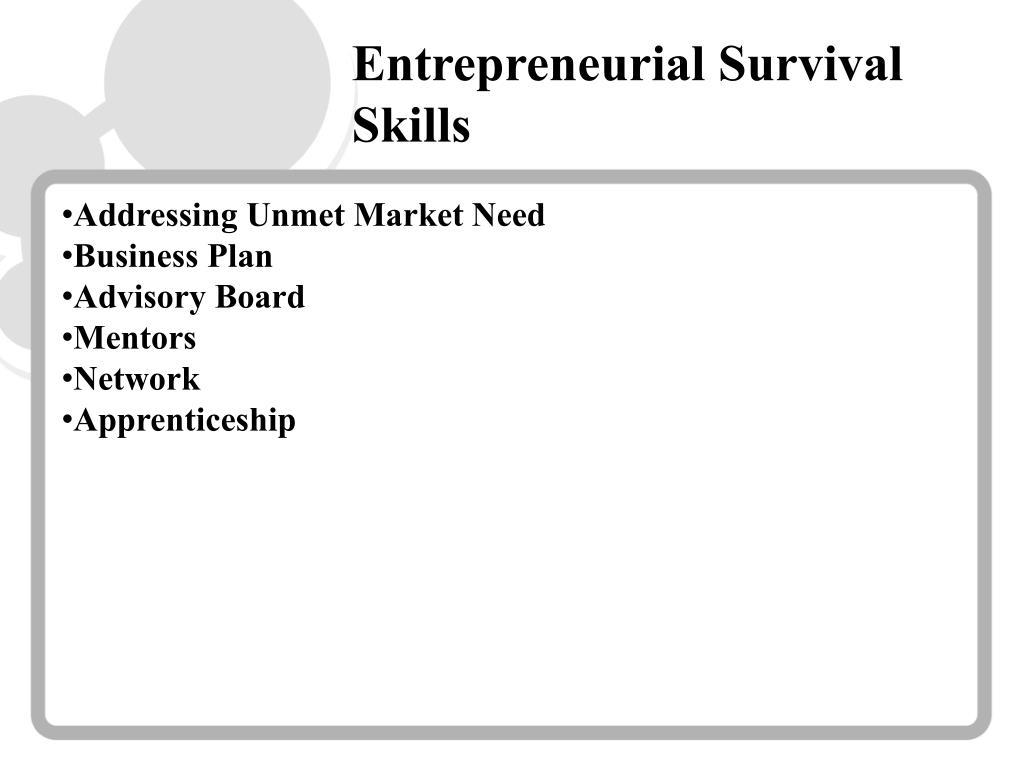 Entrepreneurial Survival Skills