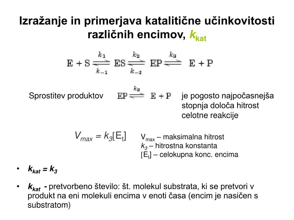 Izražanje in primerjava katalitične učinkovitosti različnih encimov,
