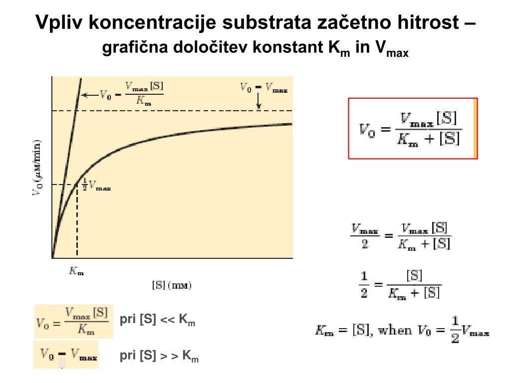 Vpliv koncentracije substrata začetno hitrost –