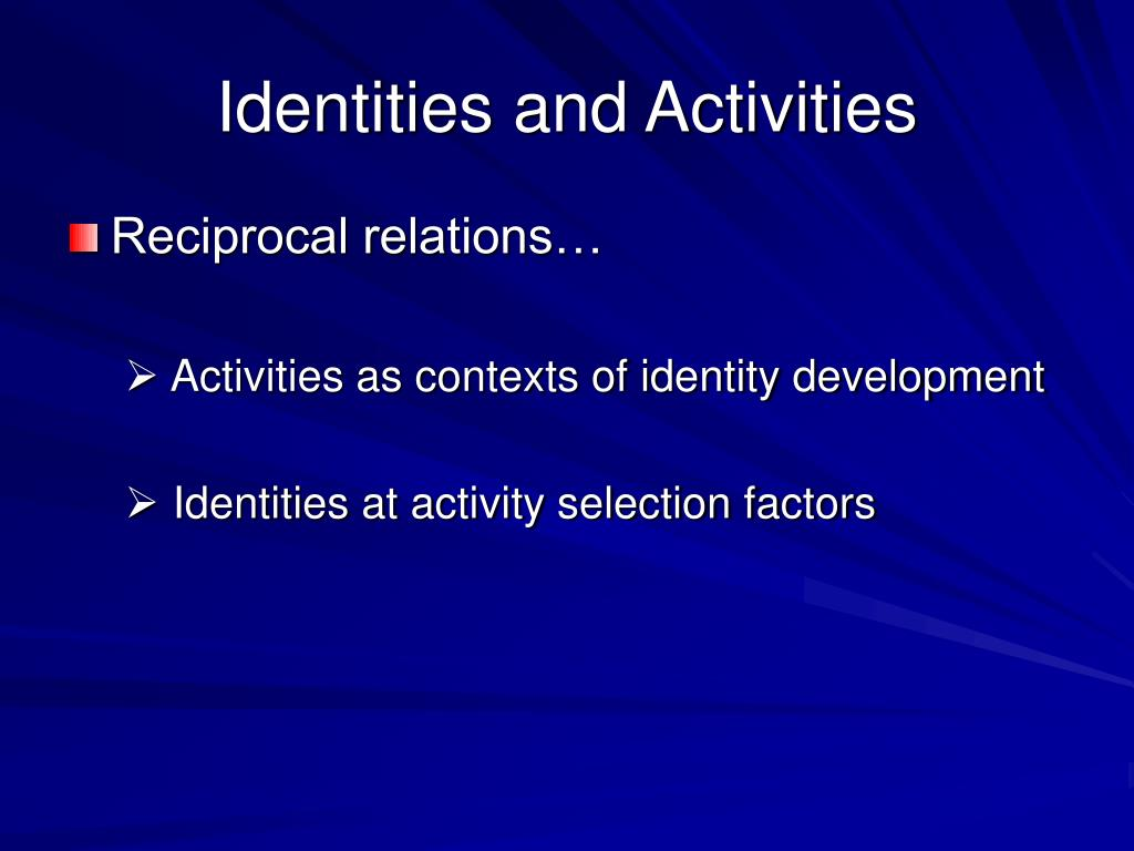 Identities and Activities