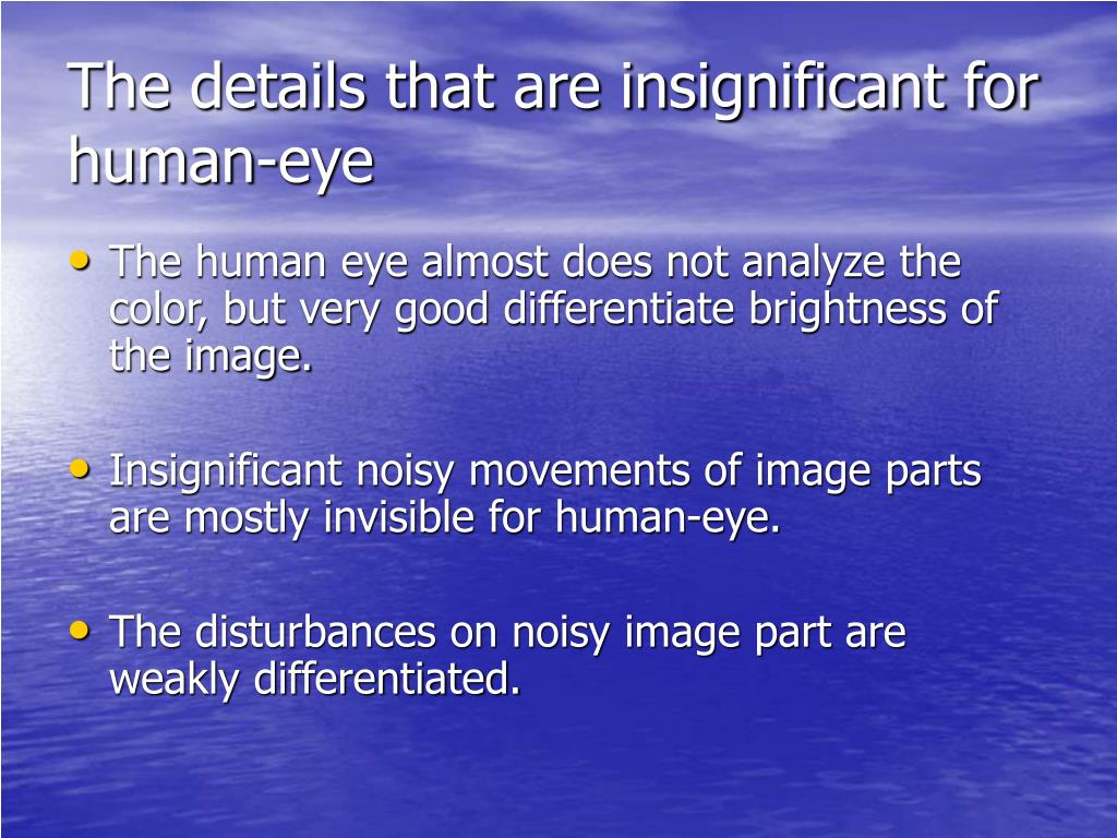 The details that are insignificant for human-eye