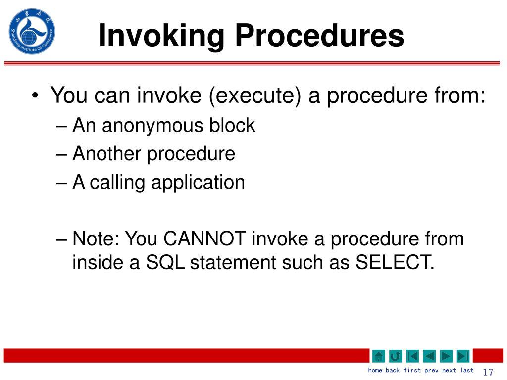 Invoking Procedures