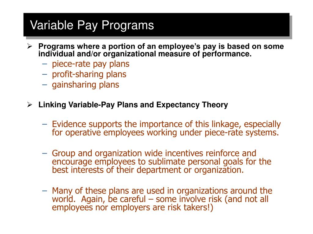 Variable Pay Programs