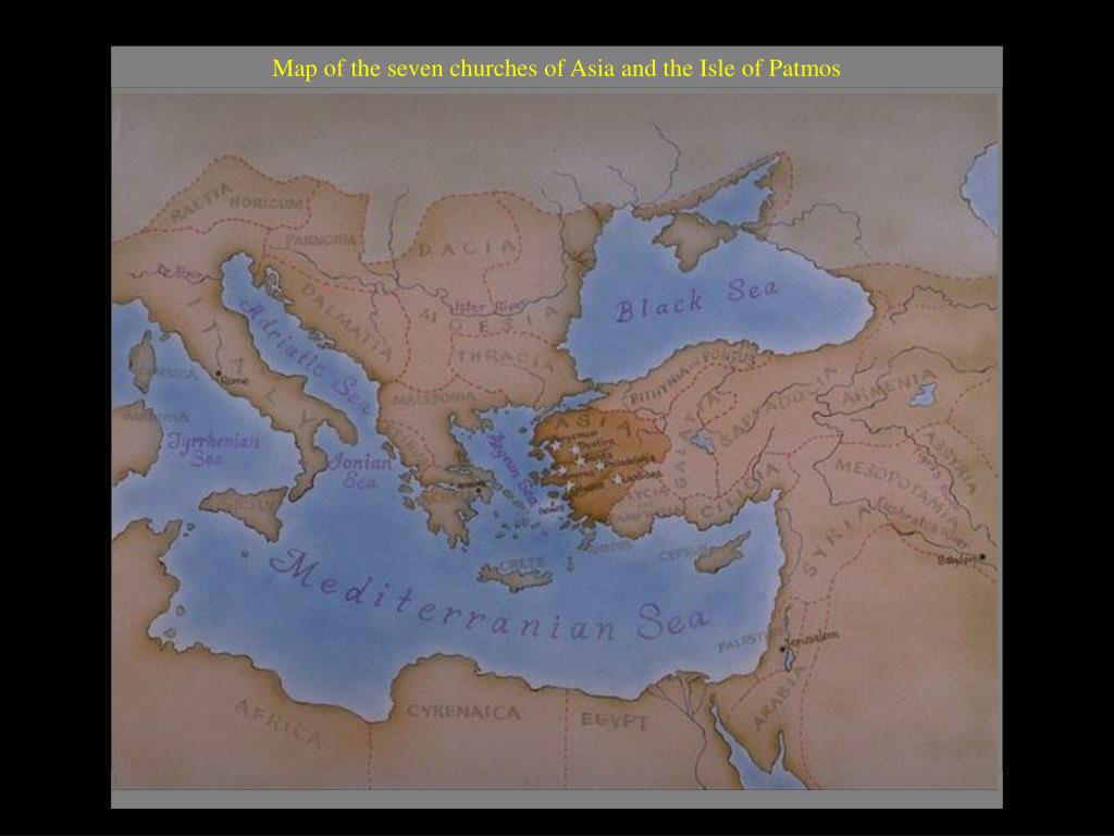 Map of the seven churches of Asia and the Isle of Patmos