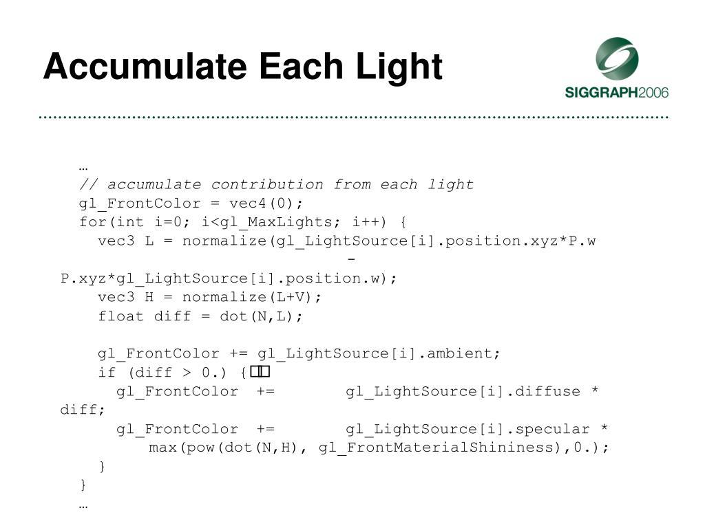 Accumulate Each Light