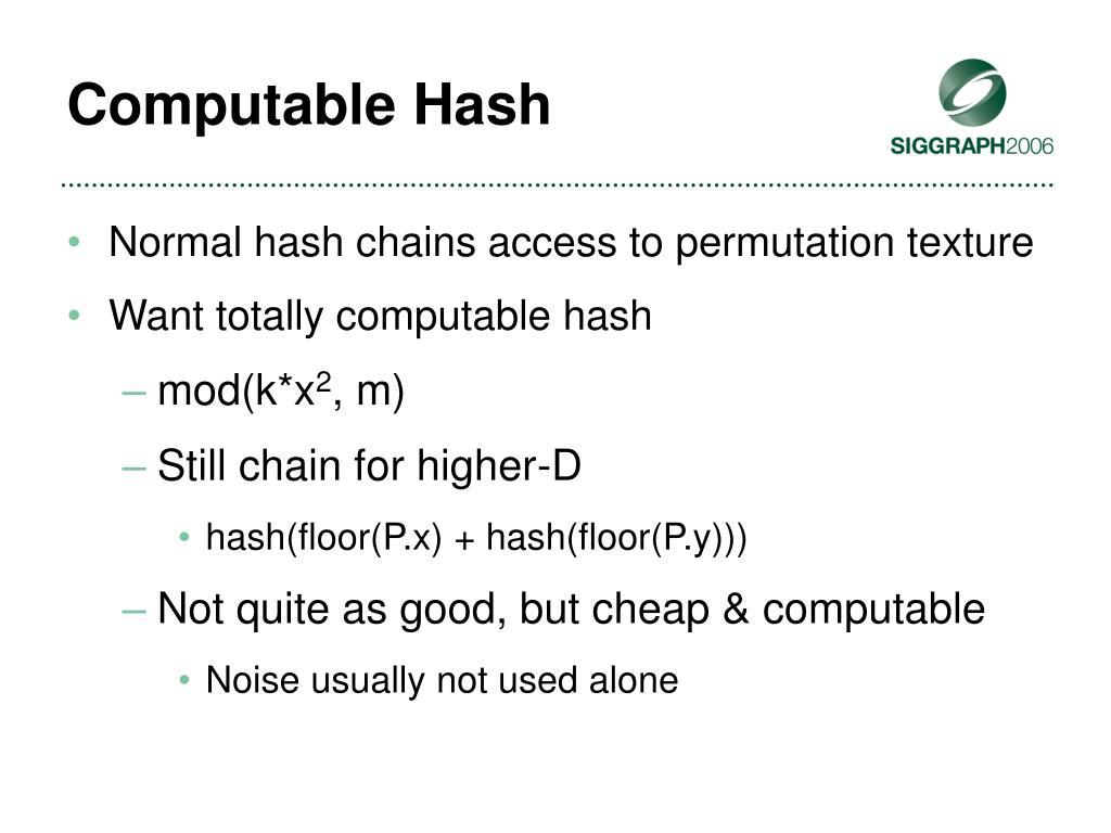 Computable Hash