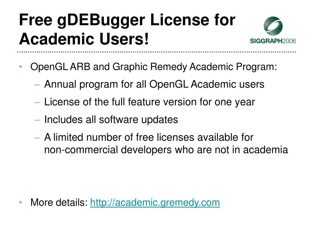 Free gDEBugger License for