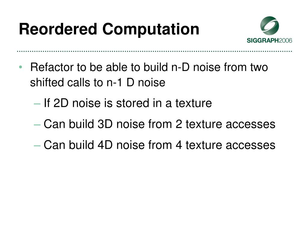 Reordered Computation