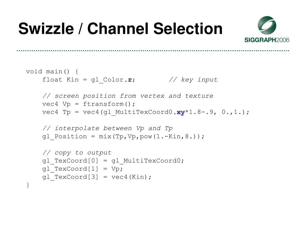 Swizzle / Channel Selection