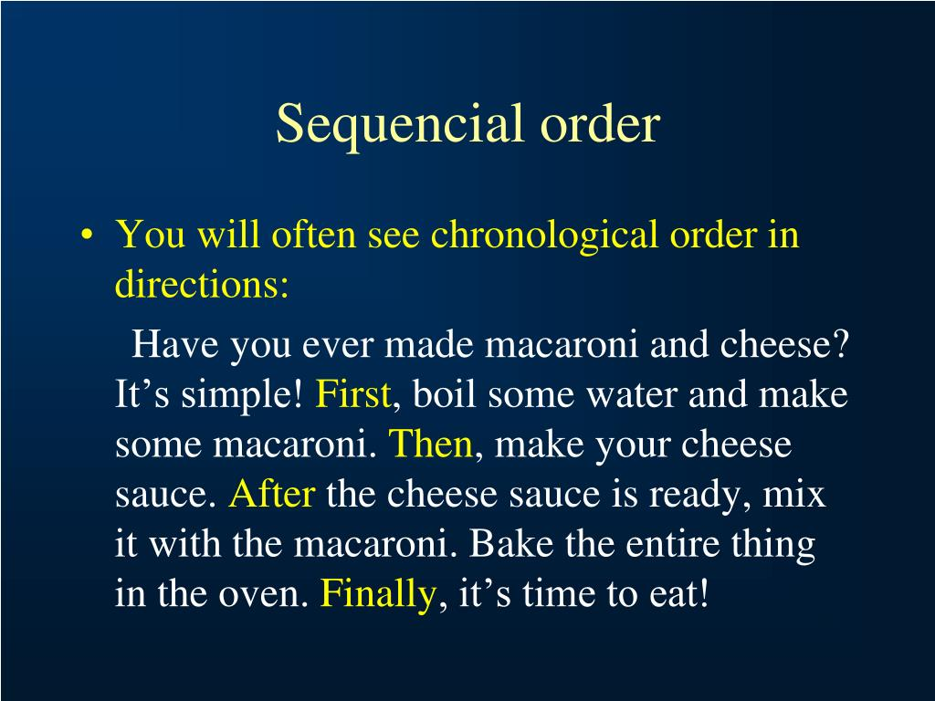 Sequencial order