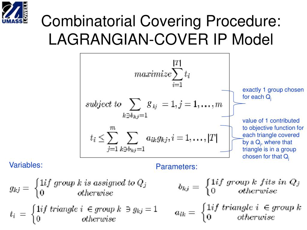 Combinatorial Covering Procedure: LAGRANGIAN-COVER IP Model
