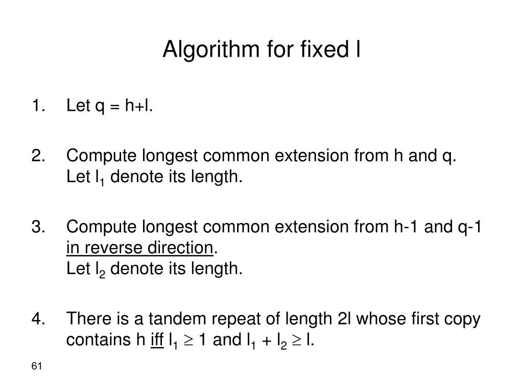 Algorithm for fixed l