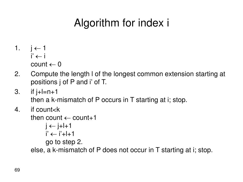 Algorithm for index i