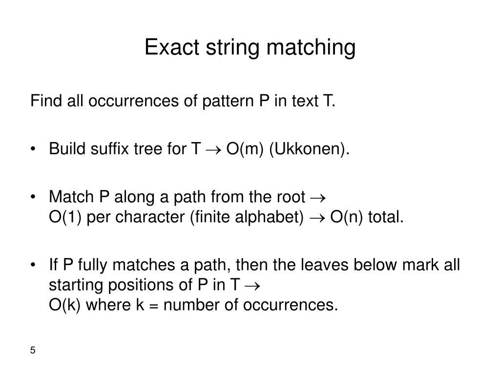 Exact string matching