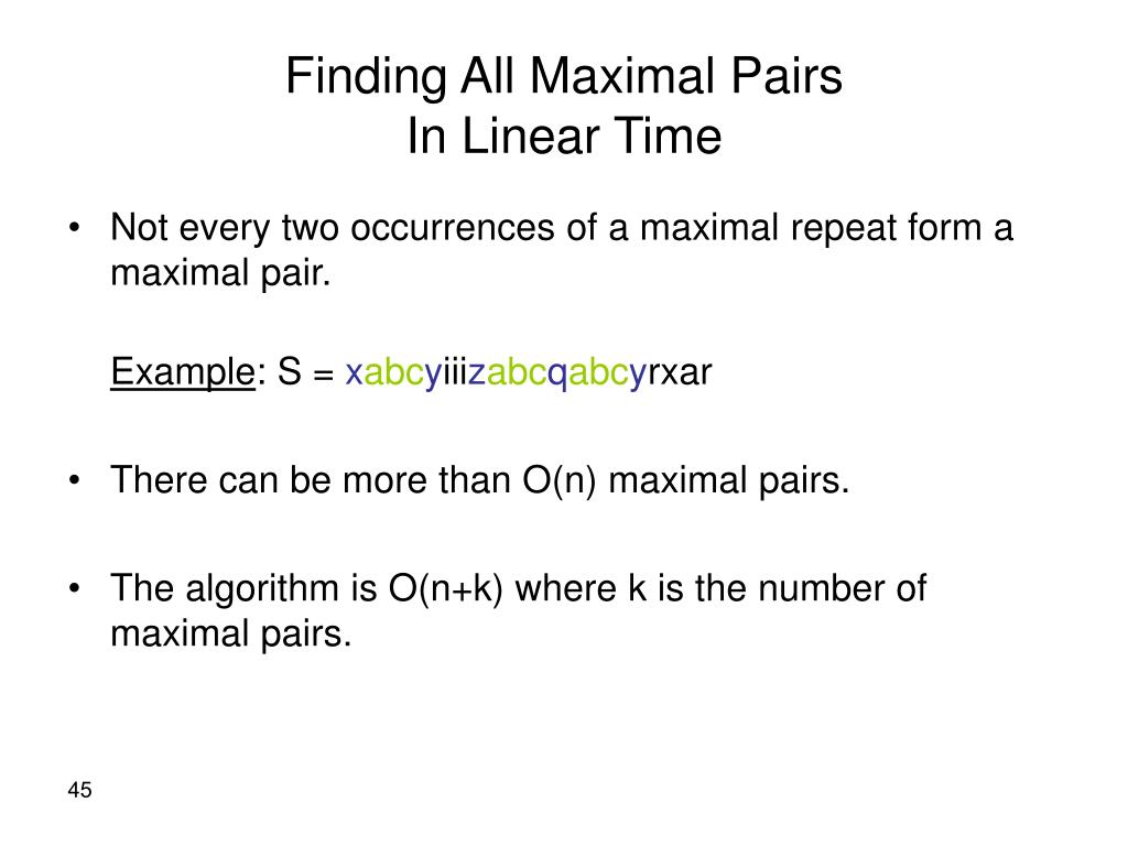 Finding All Maximal Pairs