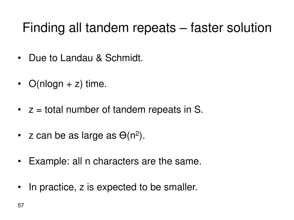 Finding all tandem repeats – faster solution