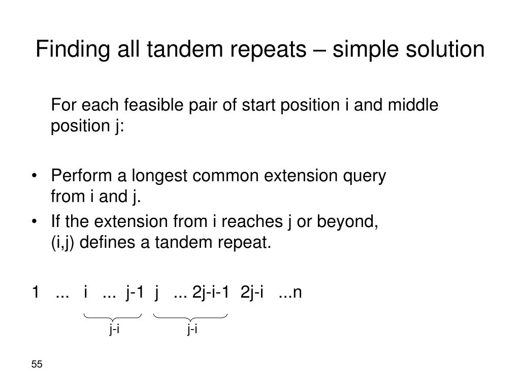 Finding all tandem repeats – simple solution