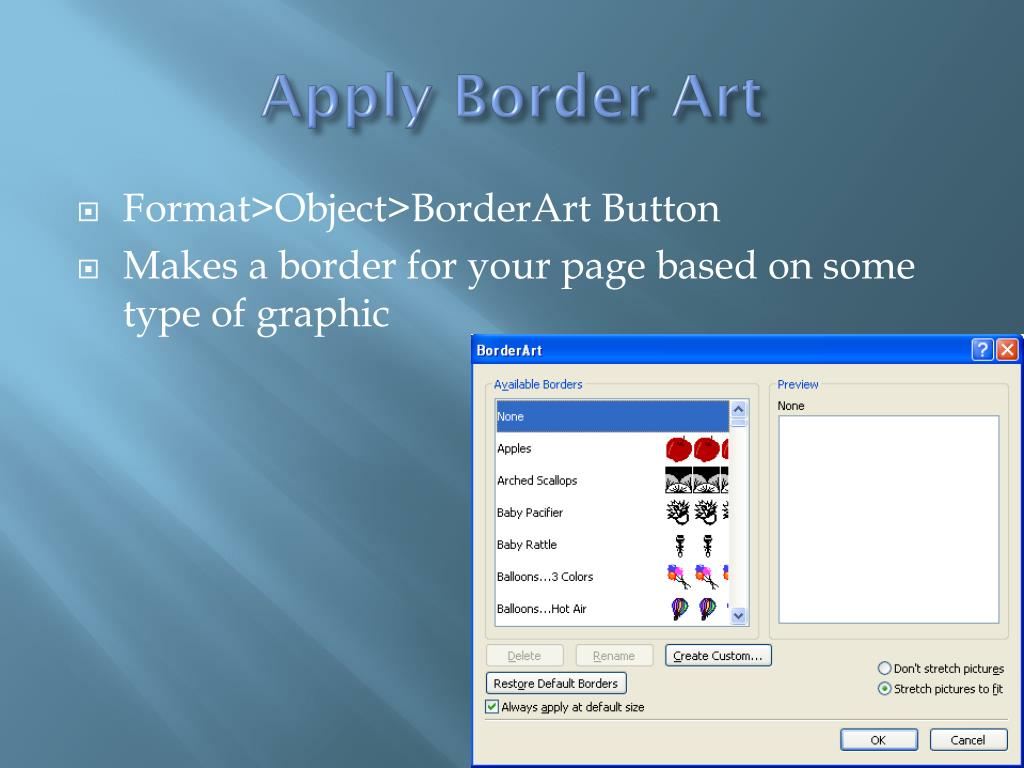 Apply Border Art