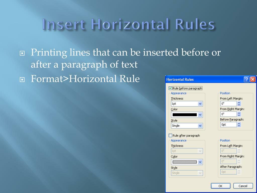 Insert Horizontal Rules