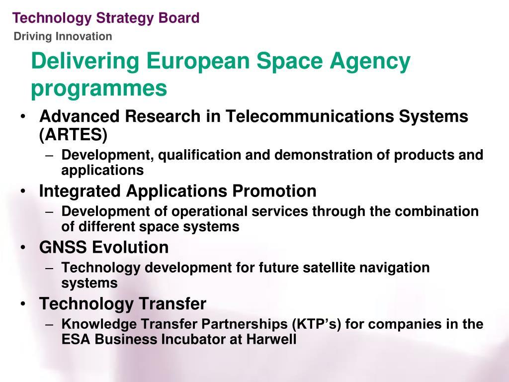 Delivering European Space Agency programmes
