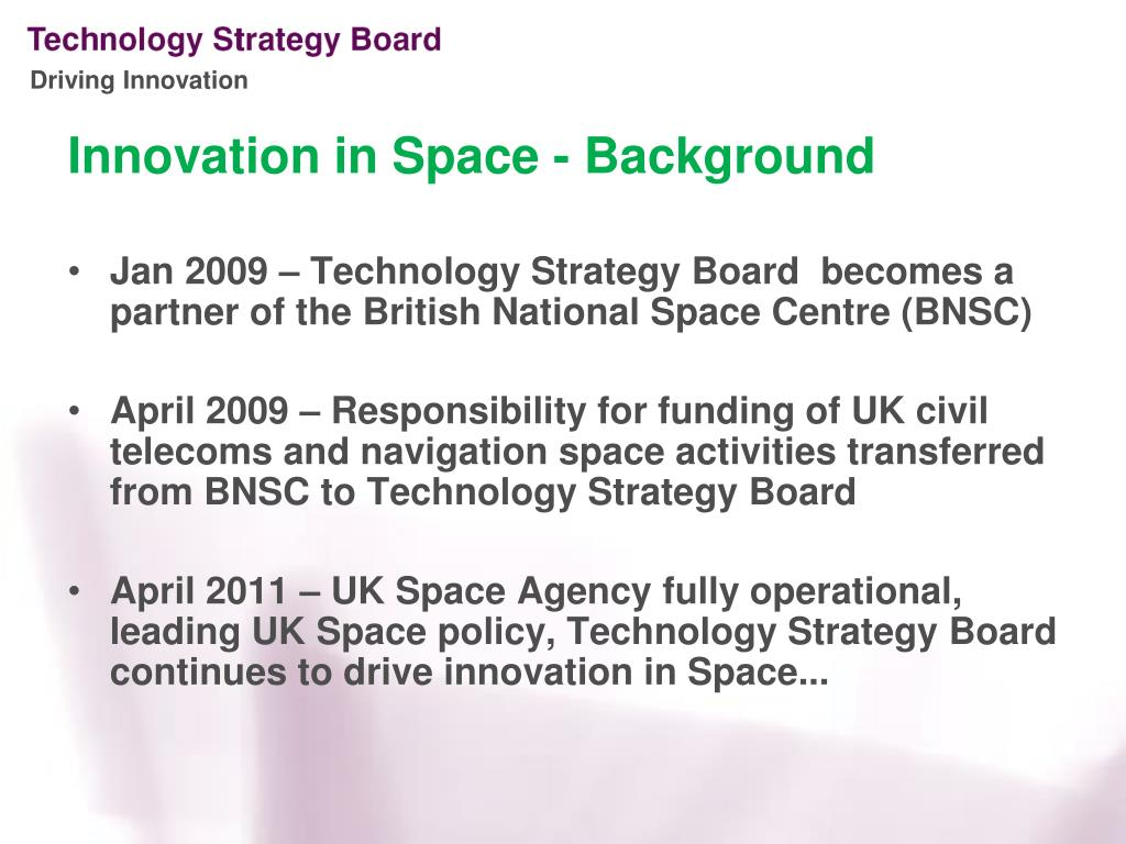 Innovation in Space - Background