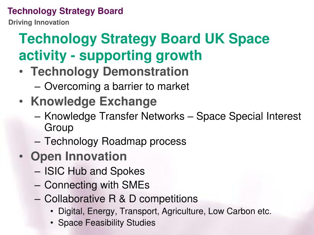 Technology Strategy Board UK Space activity - supporting growth