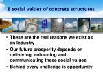 8 social values of concrete structures