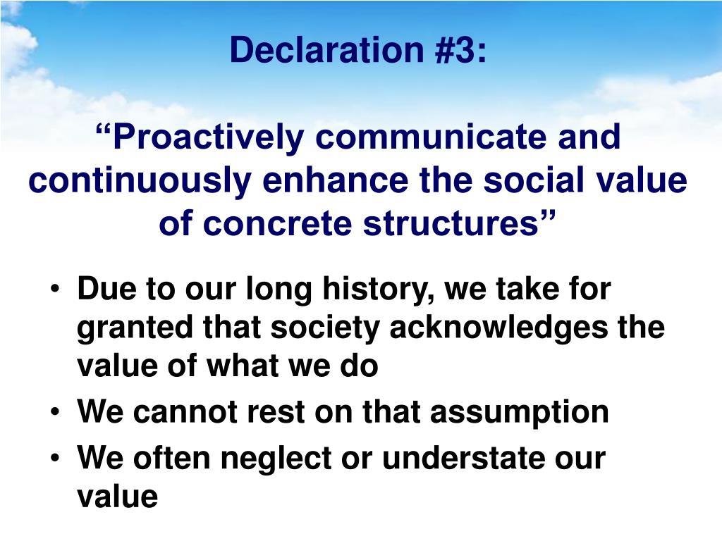 Declaration #3: