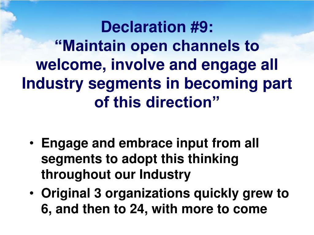 Declaration #9: