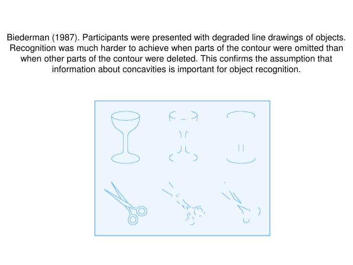 Biederman (1987). Participants were presented with degraded line drawings of objects. Recognition was much harder to achieve when parts of the contour were omitted than when other parts of the contour were deleted. This confirms the assumption that information about concavities is important for object recognition.
