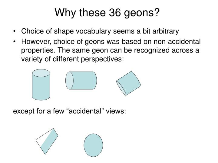Why these 36 geons?