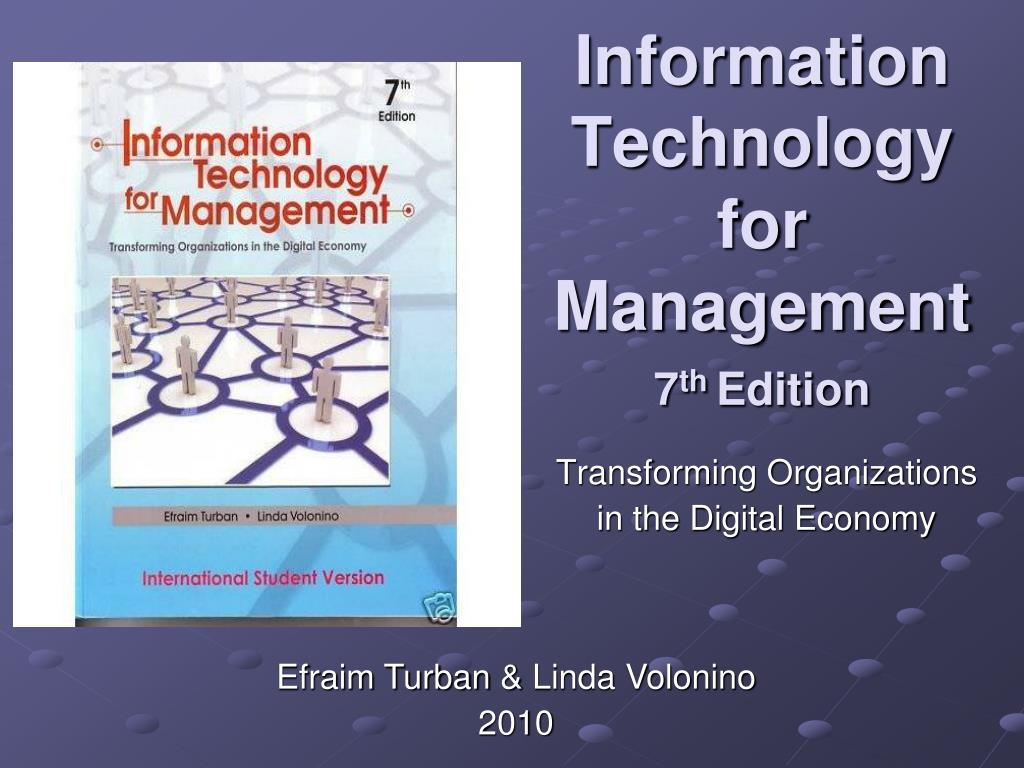 Technology Management Image: Information Technology For Management 7 Th Edition