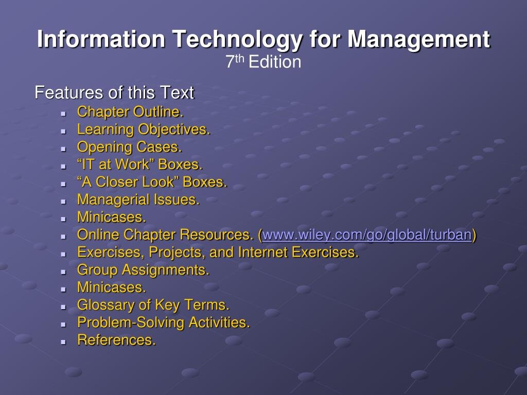 solutions for infromation technology for management efraim turban Find efraim turban solutions at cheggcom now skip navigation chegg home books efraim turban: information technology for management : efraim turban: information technology for management adapted from information technology for management transforming organizations in the digital.